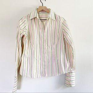 PINK Thomas Pink Striped Collared Button Down Top Size 6